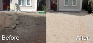 Paving cleaning before and after