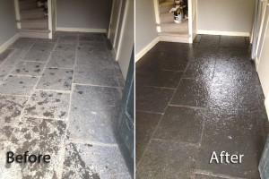 Cleaning and treatment of tiled floor