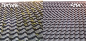 Power cleaning of roof tiles
