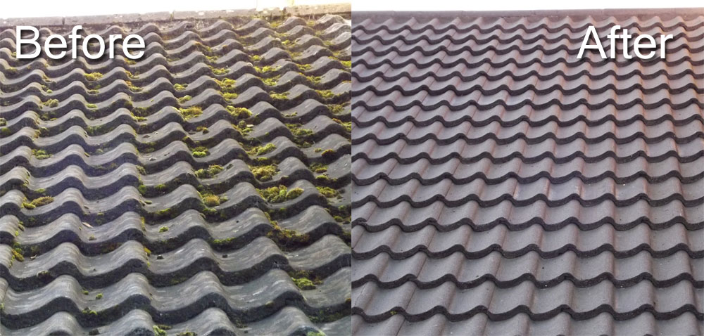 Power Cleaning Of Roof Tiles Before And After Csi Cleaning